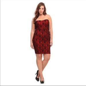 TORRID Red with Black Lace Dress